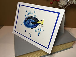 Blue Tang original ink painting on a greeting card