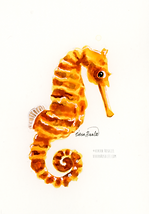 Seahorse Ink Painting