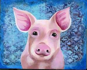 Pink Pig acrylic painting
