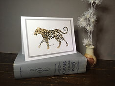 Leopard original ink painting on a greeting card