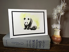 Panda original ink painting on a greeting card