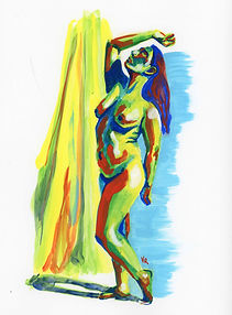 Figure 3D: Woman Standing (gouache)
