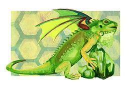 August - Green Iguana - Peridot