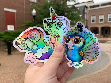 Nerdy Birdy Holographic Stickers