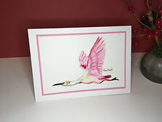 Roseate Spoonbill original ink painting on a greeting card