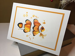 Clownfish original ink painting on a greeting card