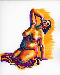 Figure 3C: Woman Kneeling (gouache)