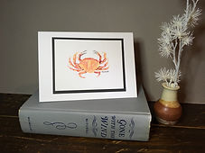 Crab original ink painting on a greeting card