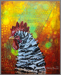 Barred Chicken Acrylic Painting