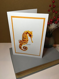 Seahorse original ink painting on a greeting card