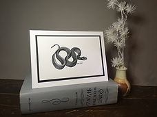 Black Rat Snake original ink painting on a greeting cardJPG