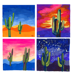 Arizona Cactus Landscapes at Midday, Sunset, Sunrise, and Midnight