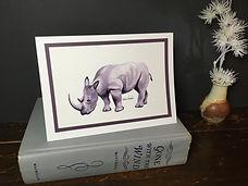 Rhino original ink painting on a greeting cardPG