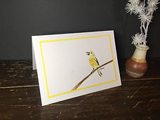 Yellow Warbler original ink painting on a greeting card