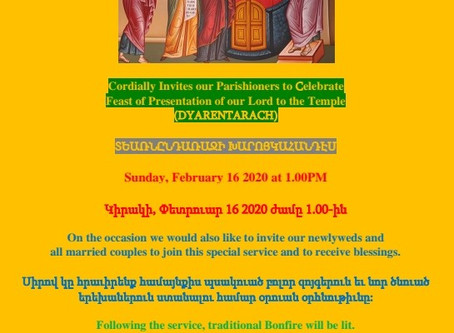 Feast of Presentation of our Lord to the Temple (DYARENTARACH)
