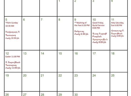 Calendar Holy Week