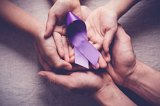 Adult and child hands holding purple rib
