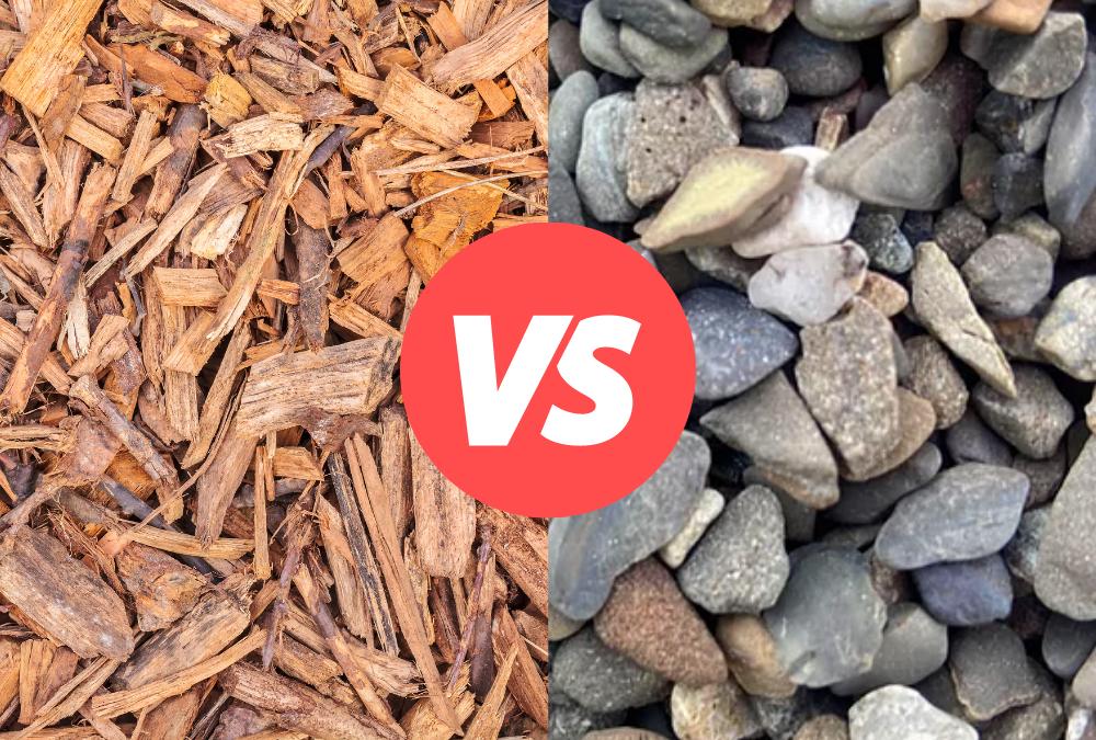 Mulch compared to decorative stone
