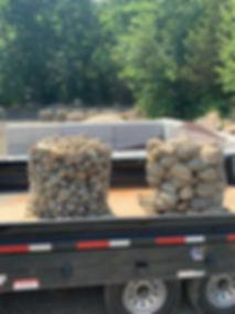 palletized river rock on truck