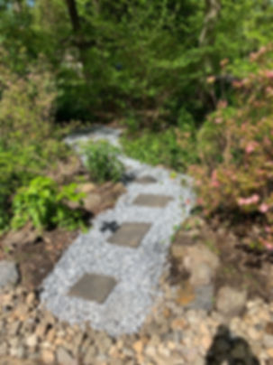 river rock walkway and steps