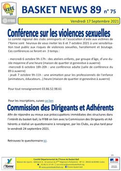 Newsletter n°75 Septembre 2021 3-5