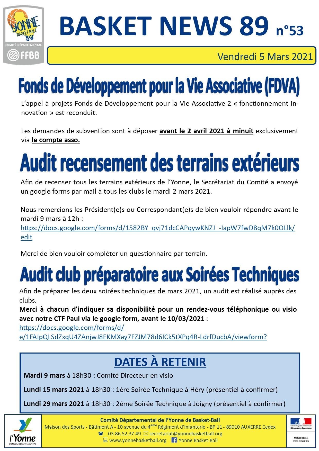 Newsletter n°53 mars 2021