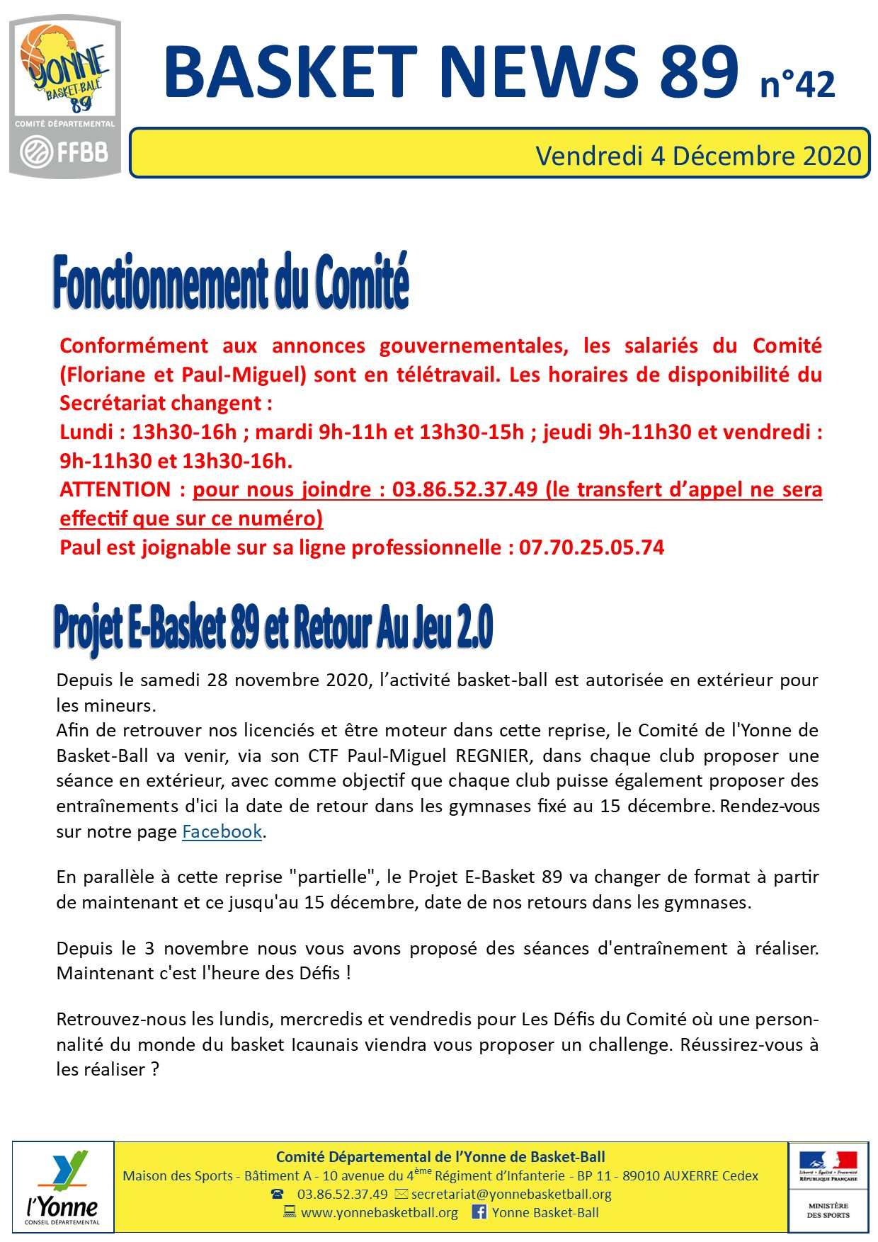 Newsletter n°42 dec 2020