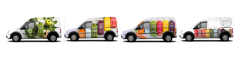 Four delivery vehicles side-by-side, featuring images of colorful bottles of juice from The Pittsburgh Juice Company
