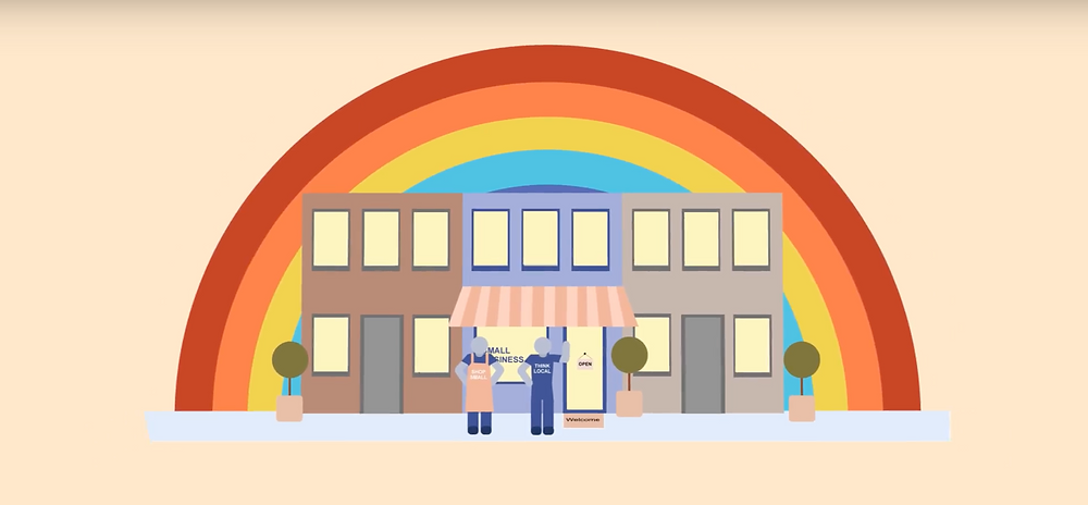 Graphic of small business owners in front of a storefront and rainbow