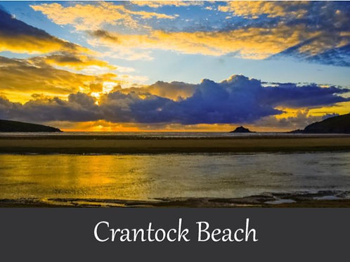 Crantock Beach Sunset Card