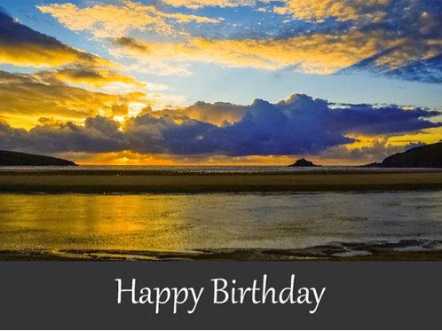 Crantock Beach Sunset Happy Birthday Card