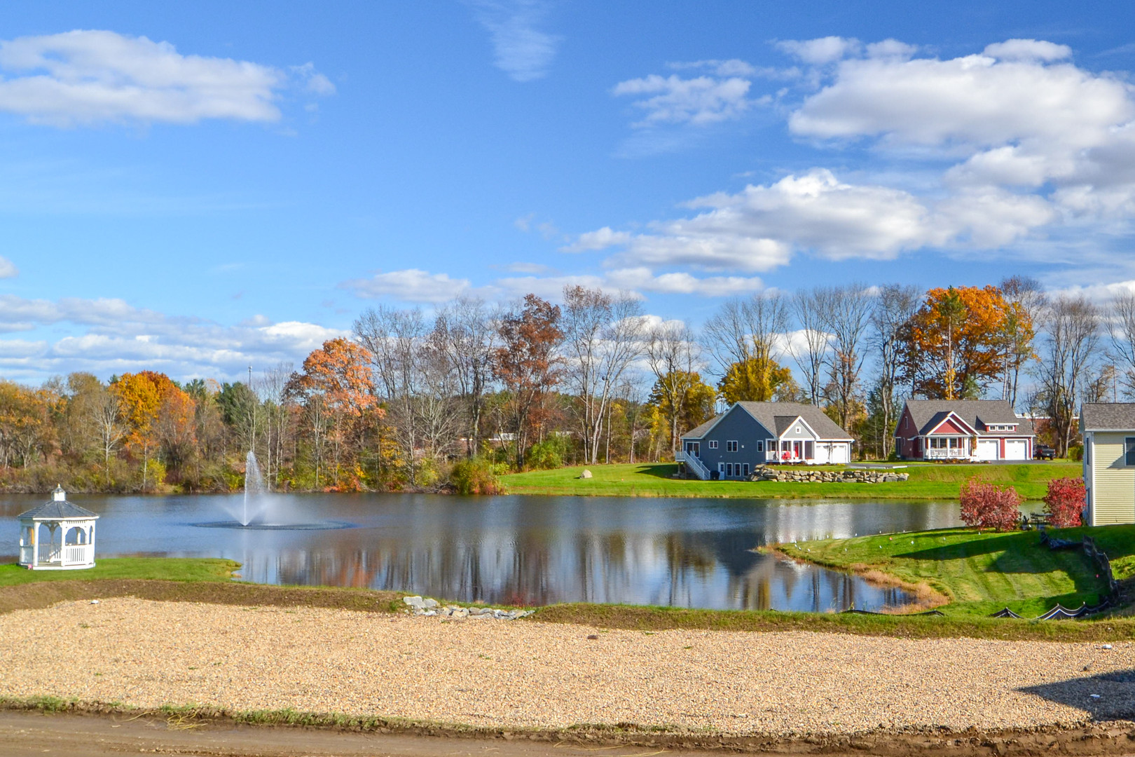 Large pond and Sunset Lane homes on 10/26/19