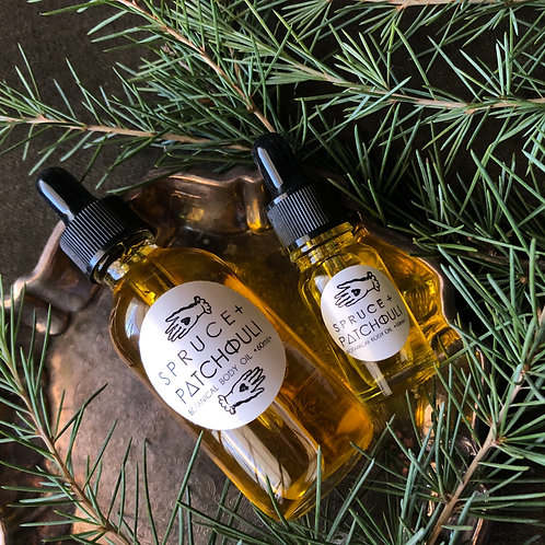 Spruce + Patchouli Organic Bath + Body Oil