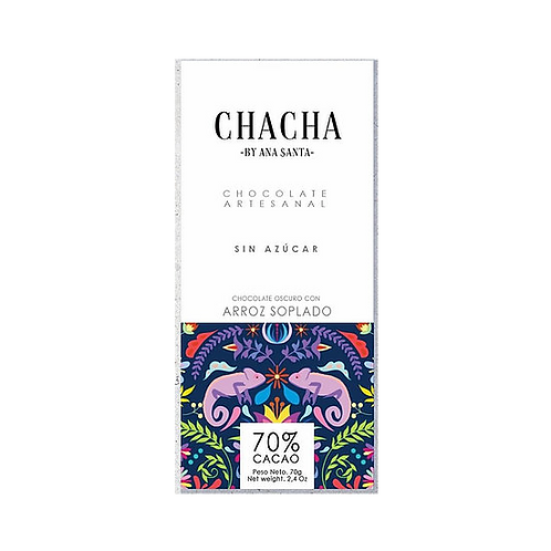 Chocolate 70% sin azúcar con arroz soplado Chach 70%