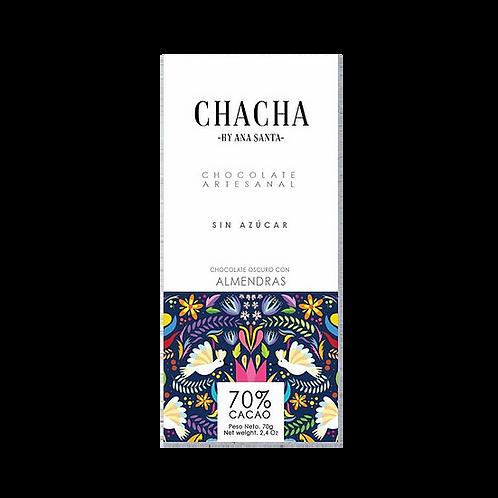 Chocolate  70% con trozos de almendras, sin azúcar Chacha 70g