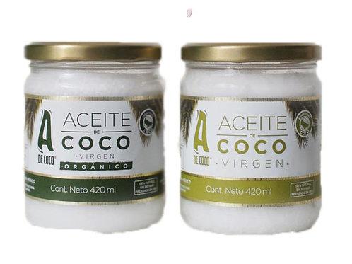Aceite de coco A de Coco Tradicional o Organico 420 ml
