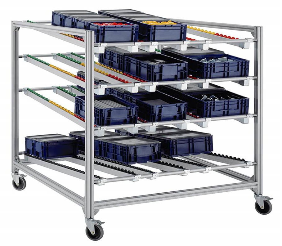 gravity fed flow rack for parts