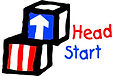 Head Start Blocks Image - Blue Block with White arrow and Red Block with White Stripes