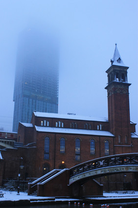 Betham Tower in the Snow and Fog.