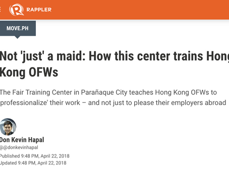 """""""Not 'just' a maid: How this center trains Hong Kong OFWs"""""""
