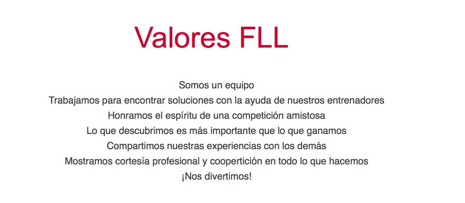 La Cortesía Profesional – Valores FIRST LEGO League