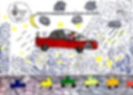 Dibujo del Colegio La Salle dónde se muestra la solución del reto con coches con depuradores de aire