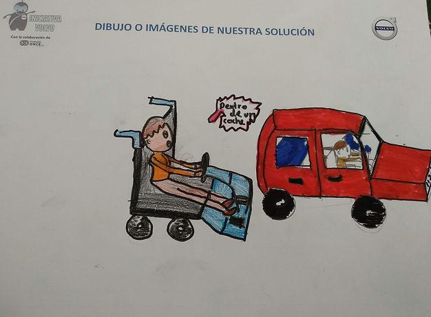 Dibujo del Colegio Humanitas International School dónde se muestra una solucion del reto para personas con mobilidad reducida