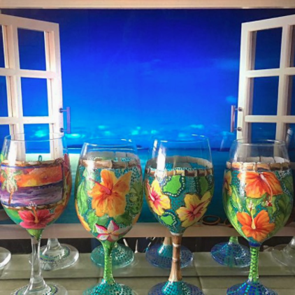 Hawaiian Tropics Wine Glasses