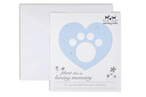 Parting Tails® Forget-me-nots, pet memorial card in light blue