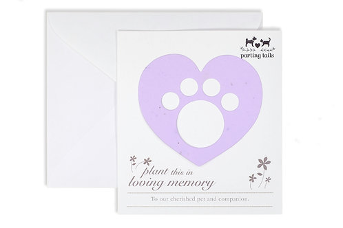 Plantable forget-me-nots pet memorial card in lavender