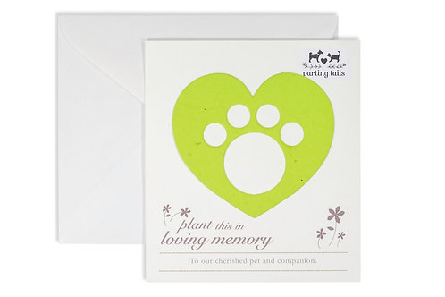 Parting Tails® Forget-me-nots, pet memorial card in green