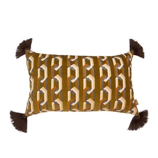Geometric Chain Link Rectangular Velvet Cushion
