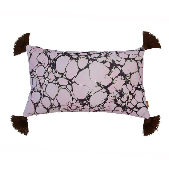Lilac Marble Rectangle Velvet Cushion with Tassels