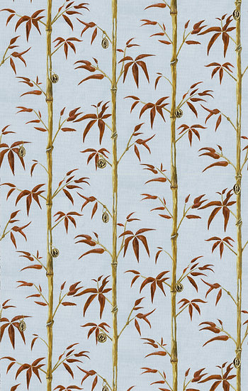 Poodle and Blonde Printed Wallpaper Money Tree in Tobacco Sky